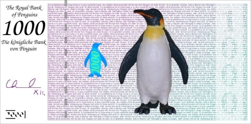 Penguin on a 1000 Bank Note
