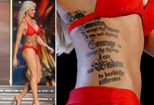 Miss Kansas - Theresa Vail and the most visible of her tattoos.
